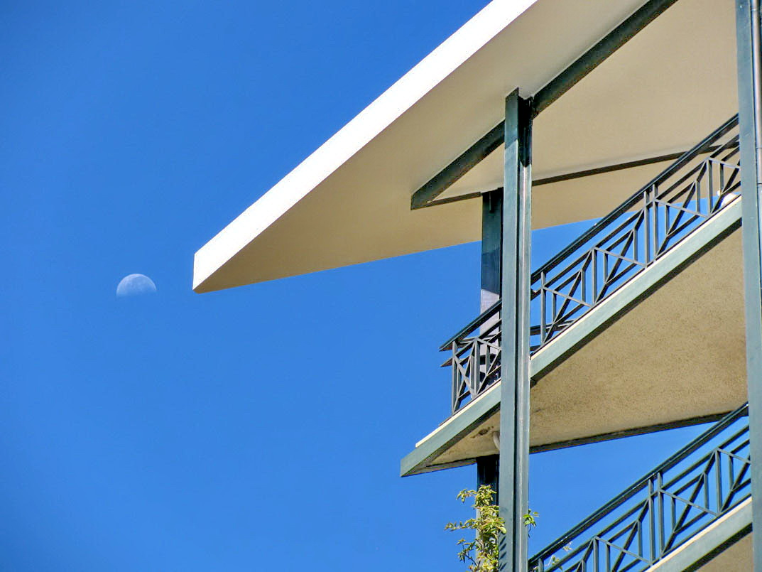 architecture with a moon day