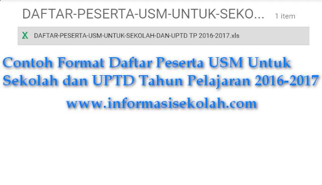 Download Contoh Format Rekap Daftar Calon Ujian Sekolah Madrasah USM Pada Setiap UPTD Pendidikan