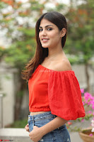 Rhea Chakraborty in Red Crop Top and Denim Shorts Spicy Pics ~  Exclusive 204.JPG