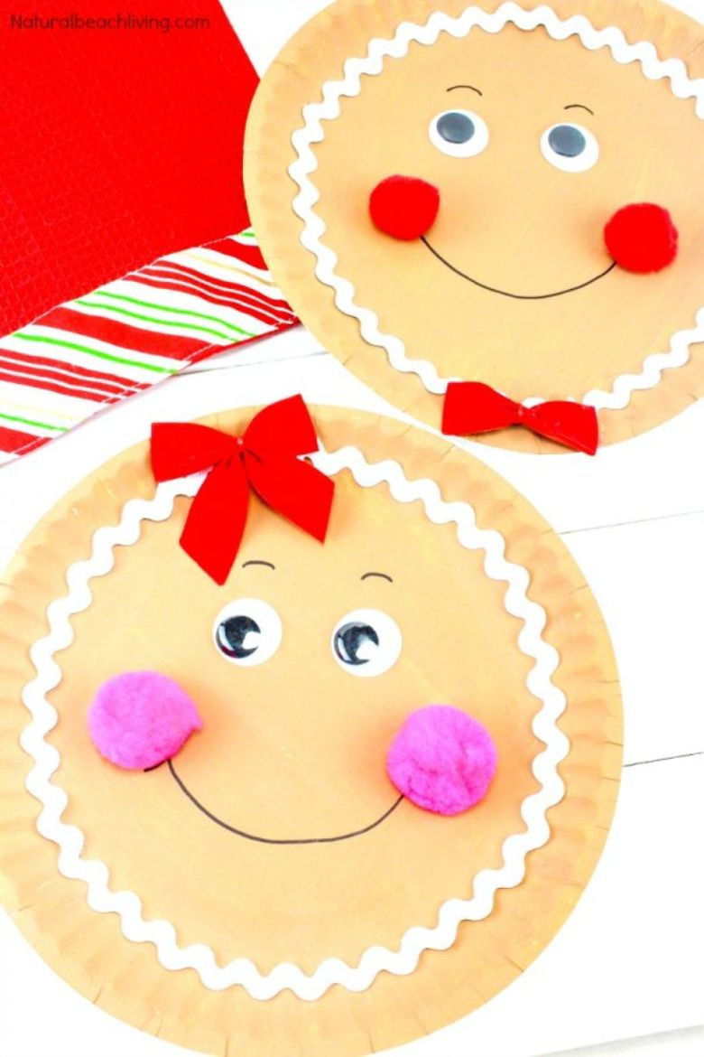 Gingerbread paper plate Christmas craft for toddlers and preschoolers