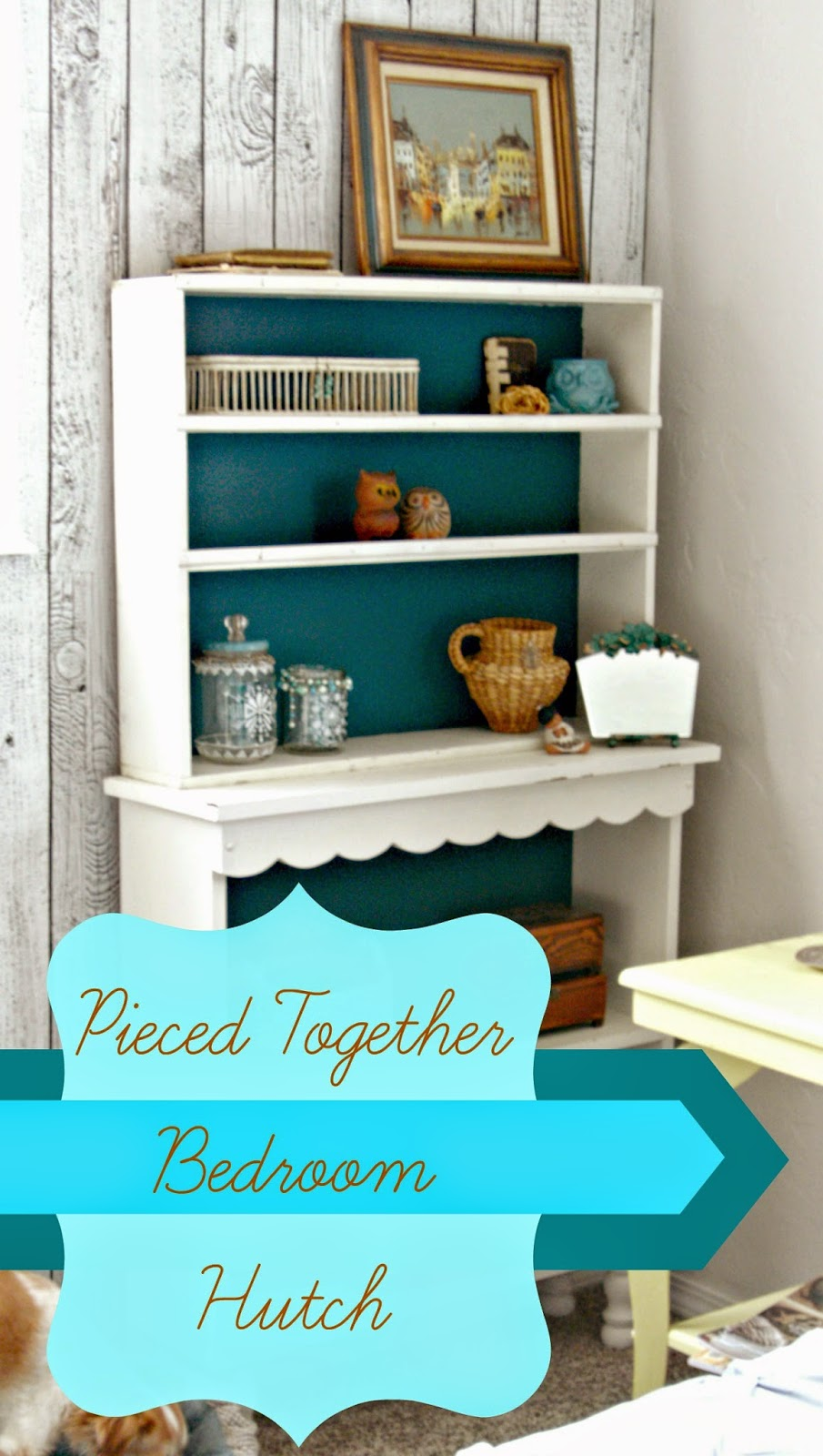 Marrying two mismatched shelves to create a hutch