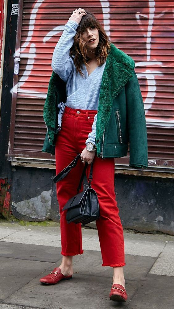 emerald green and red outfit styling