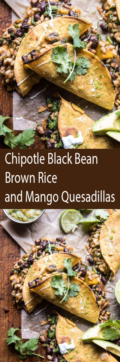 Chipotle Black Bean, Brown Rice, And Mango Quesadillas