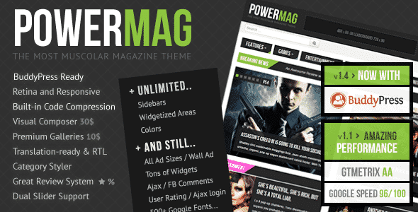 PowerMag v2.0 – The Most Muscular Magazine/Reviews Theme Nulled