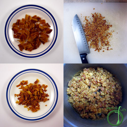 Morsels of Life - Bacon Bits Step 2 - Crumble or cut bacon to desired size. For really small bacon bits, you might need to use a food processor or coffee grinder.