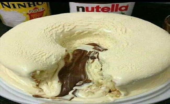 Bolo Vulcão de Leite Ninho com Nutella