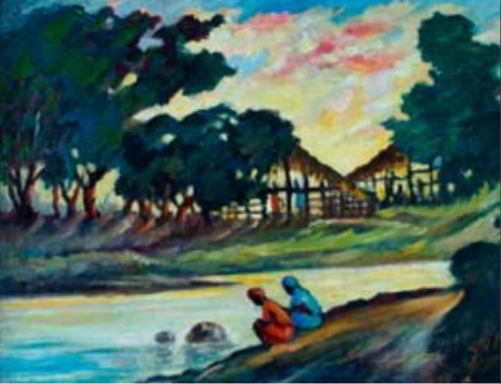 Lavando en el río, 1961