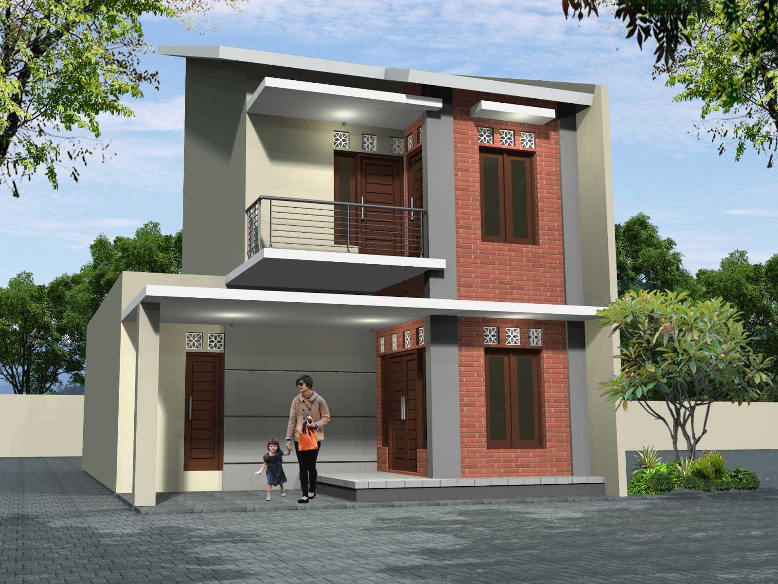 Desain Rumah 2 Lantai Sederhana dengan Paduan Cat Warna Merah dan Putih Minimalis