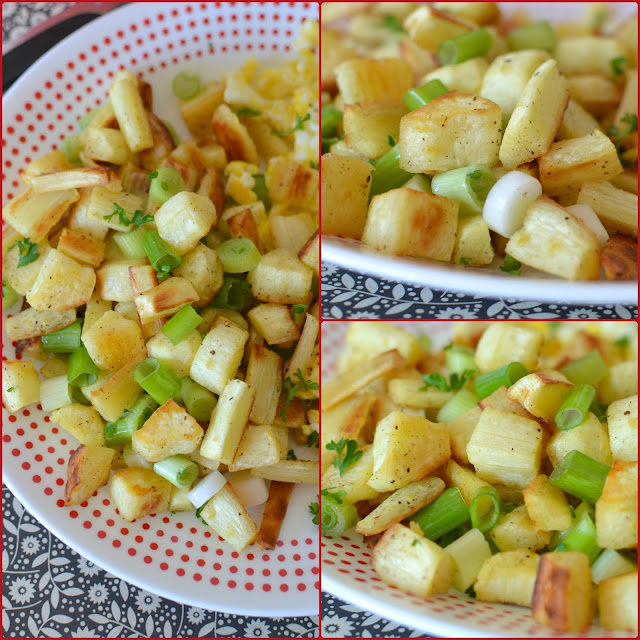 Roasted Parsnip Breakfast Home Fries Recipe from Hot Eats and Cool Reads! This breakfast or dinner side dish is unique, delicious and so simple to make! The freshness of the green onions go great with the roasted parsnips!