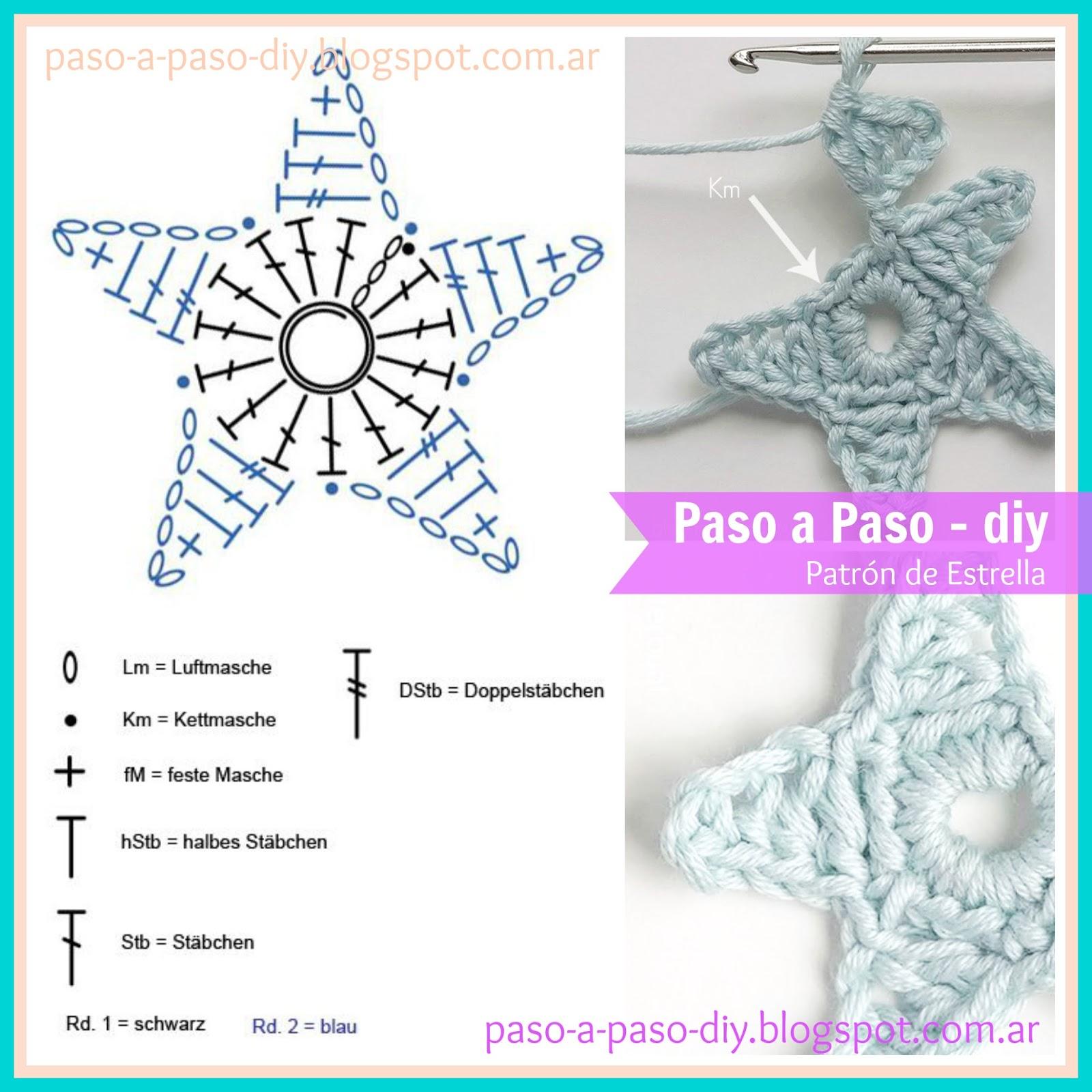 Dorable Modelo De Estrella Ganchillo Ornamento - Manta de Tejer ...