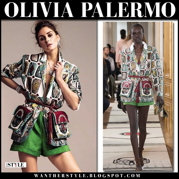 Olivia Palermo in green shorts and python jacket schiaparelli haute couture fashion