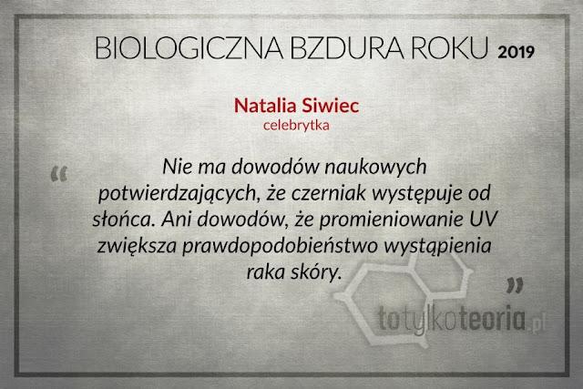 Biologiczna Bzdura Roku 2019 Natalia Siwiec