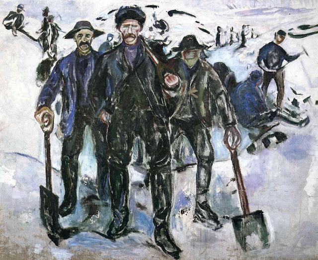 Эдвард Мунк - Рабочие на снегу. 1913