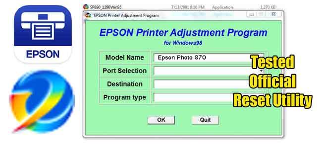 Epson Stylus Photo 870 Adjustment program (Reset Utility) Free Download