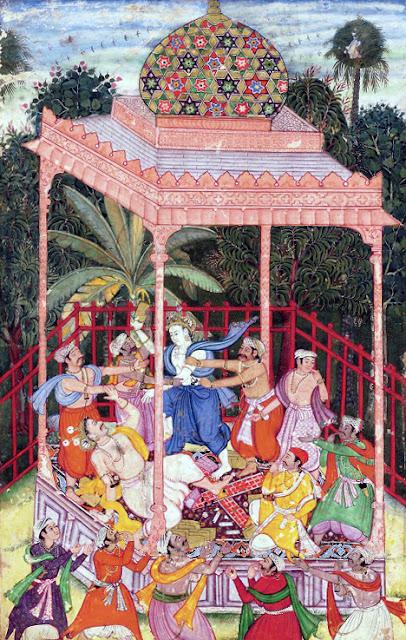 Rukmi and Kalinga being killed by Balaraama