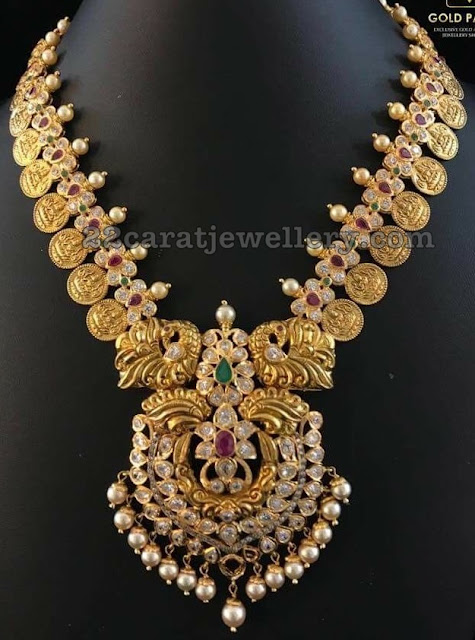 Pachi Floral Necklace with Lakshmi Kasu