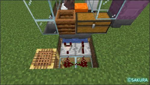 Minecraft 自動小麦畑兼取引所の骨粉制御のレッドストーン回路