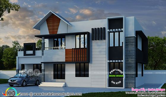 2 storied mix roof house plan