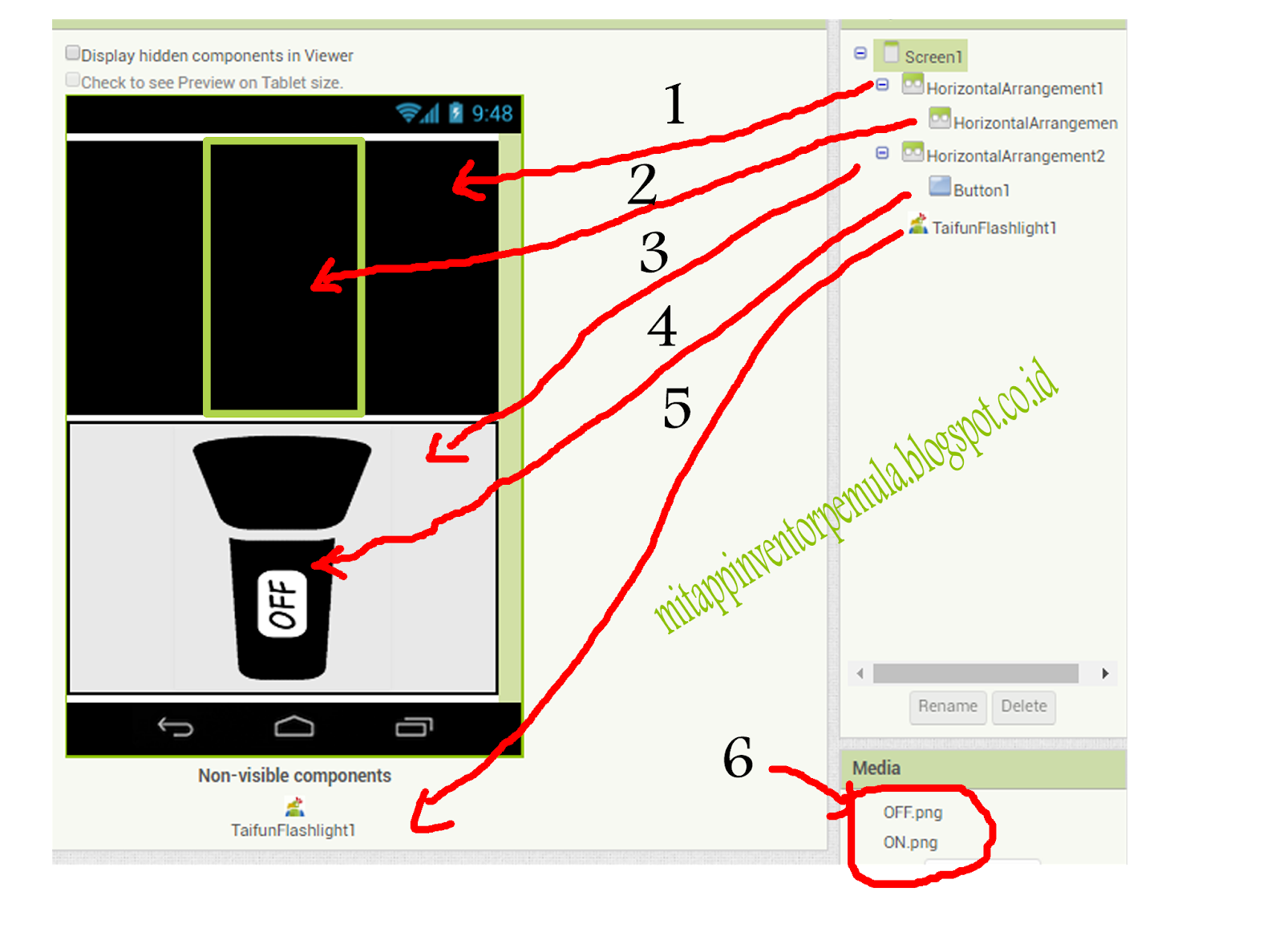MIT APP INVENTOR (PEMULA): FlashLight MIT App Inventor