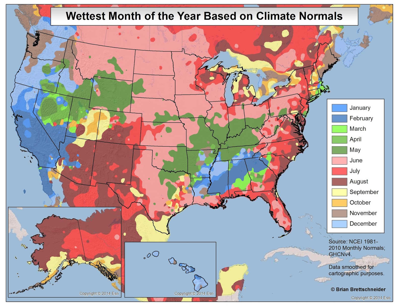 Wettest month of the year based on climate normals
