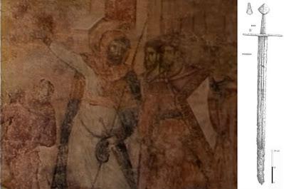 Сцена Распећа Христовог, војник Лонгин, мач има јабуку тип Е1 и сечиво XIII карактеристично за Сасе у Трансилванији. Манастир Сопоћани, друга пол. 13. века