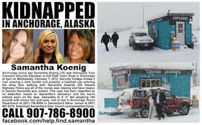 Leaflet appealing for information about the disappearance of Sam Koenig, and the coffee stand she was abducted from.