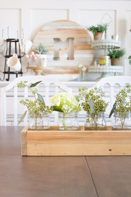Simple box and mason jar centerpiece