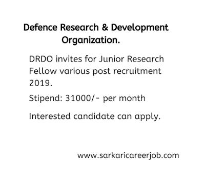 drdo recruitment various post latest government job vacancies.