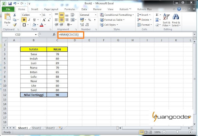 Rumus MAX Microsoft Excel