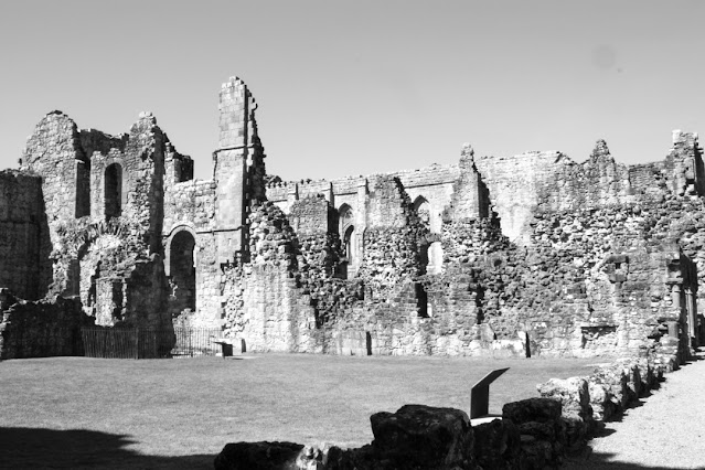Monochrome photo of a large wall over a big square lawn. The sun is casting shadows around the left and bottom edge.