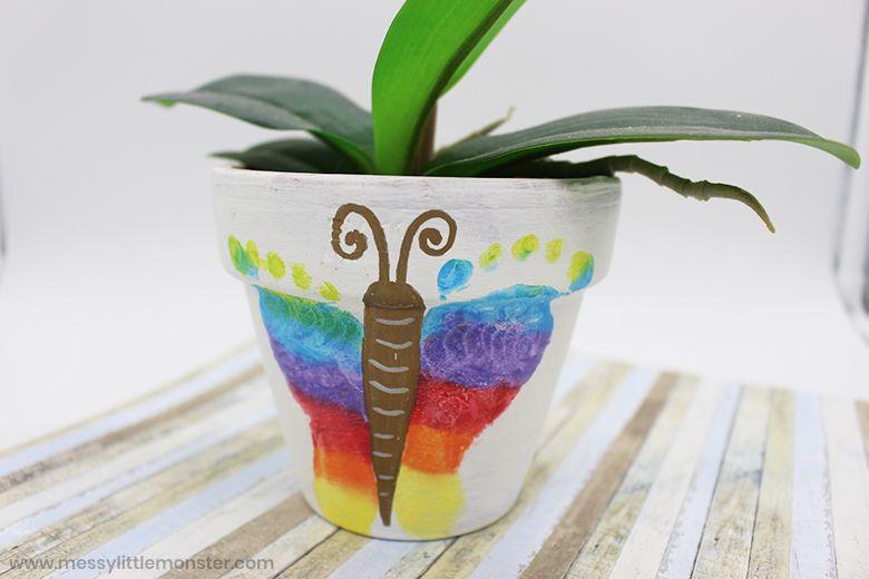 footprint butterfly flower pot