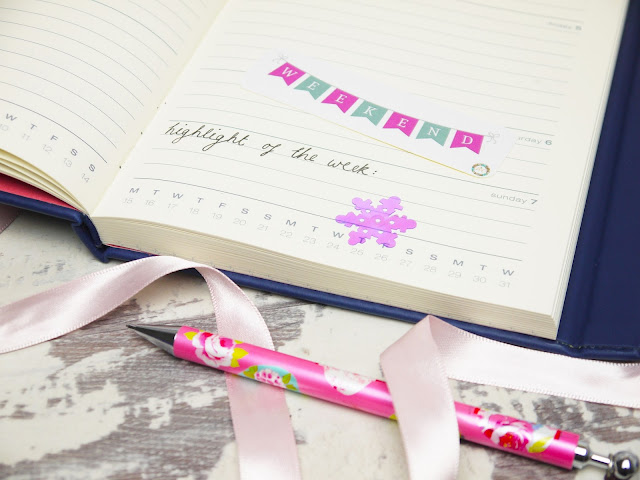 the diary reads 'highlight of the week' in cursive handwriting