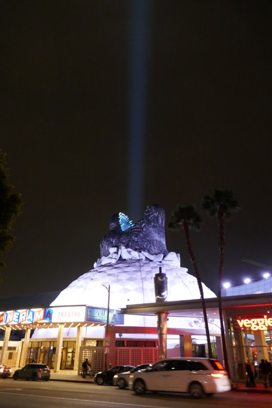 Godzilla blue light beam Cinerama Dome night