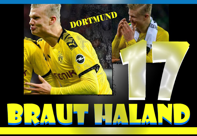 اللاعب براوت هالاند يساهم مع فريقة بروسيا دورتموند في الفوز علي شالكه 4-0 Haland Borussia Dortmund