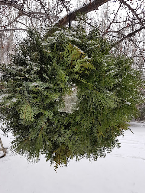 mixed evergreen wreath with Northern Ontario greens