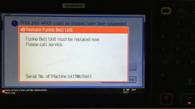 """Ricoh MP C4502/C3002 is showing """"Fusing Roller needs to be replaced now"""" call for service"""