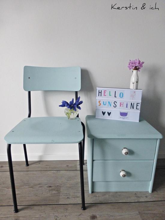 Nachher-Foto Stuhl und Kommode Streichen mit Kreidefarbe