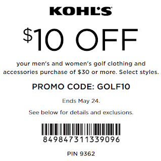 Kohls coupon $10 Off $30 your men's and women's golf clothing