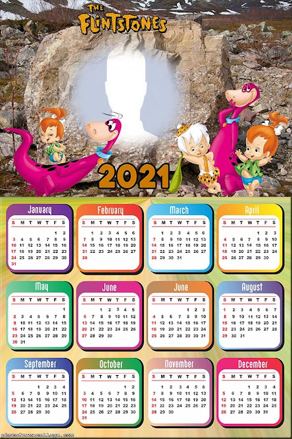 Flintstones 2021 Free Printable Calendar.