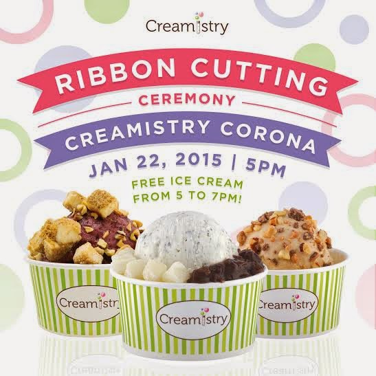 CREAMISTRY DEBUTS IN CORONA WITH FREE ICE CREAM JAN. 22, 2015