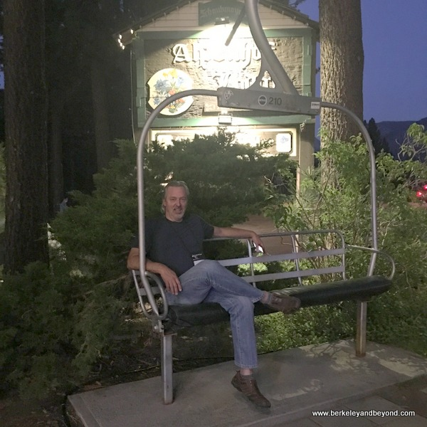 ski-lift chair swing at Petra's Bistro & Wine Bar in Mammoth Lakes, California