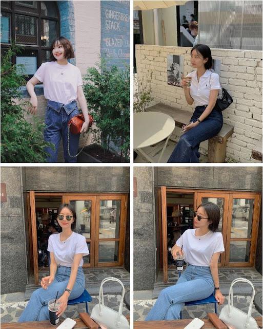 Áo thun trắng - quần jeans