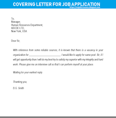 Simple Covering letter for job application - Sample