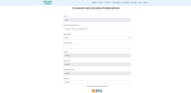 Prorgram Sistem Informasi Rental - Tampilan Menu Pembayaran