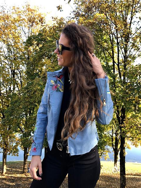 embroidered light blue leather jacket, fashion need, valentina rago blog, valentina rago, fashion need blog, snowing munich, olympiapark munchen, embroidered jacket, zaful