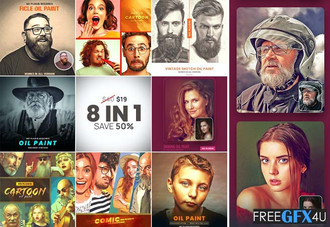 8 in 1 Photoshop Action Bundle