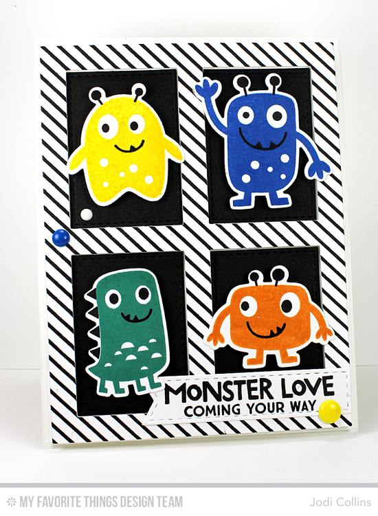 Handmade card from Jodi Collins featuring Monster Love stamp set and Die-namics, Diagonal Stripes Background stamp, Stitched Fishtail Flag STAX, Gift Box Cover-Up, and Blueprints 2 Die-namics #mftstamps