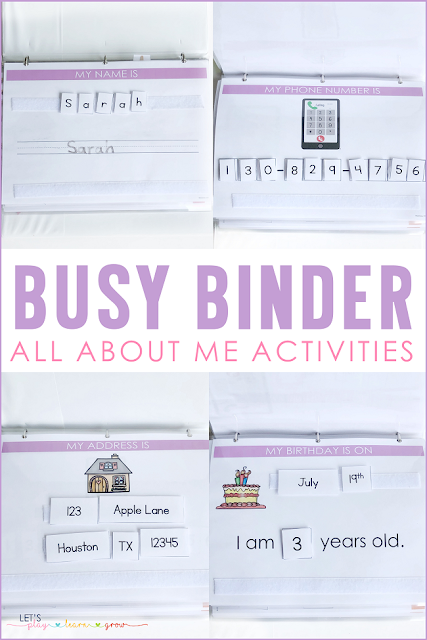 Busy Binder All About Me Activities