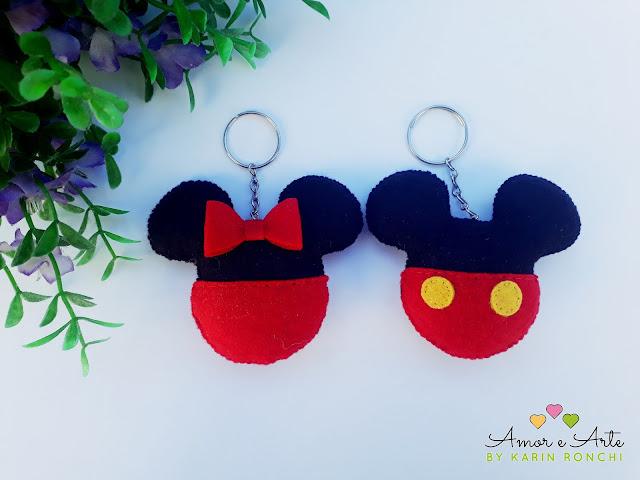 Mickey e Minnie chaveirinhos em feltro
