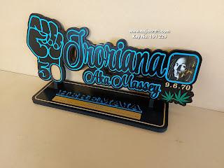 NO. 191229 HAND 50TH KEY 70CM - SKY BLUE AND BOB MARLEY PHOTO & RASTA (MARIJUANA)